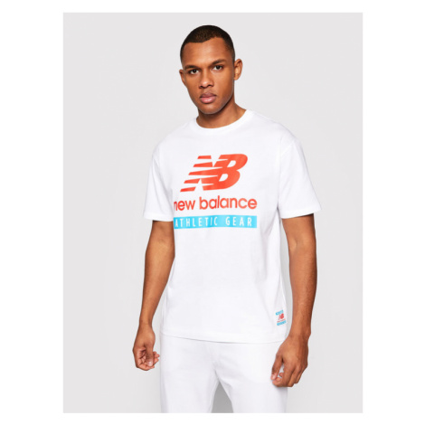 New Balance T-Shirt Essentials Logo Tee MT11517 Biały Relaxed Fit