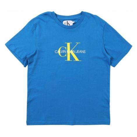 Calvin Klein Jeans Koszulka 'MONOGRAM LOGO' królewski błękit / żółty