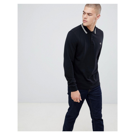 Fred Perry long sleeve twin tipped polo in black