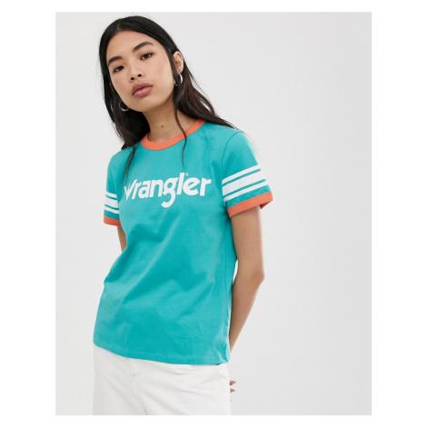 Wrangler ringer logo t shirt with stripe sleeve detail