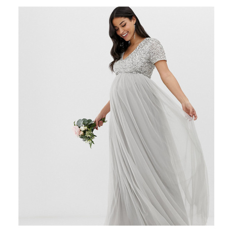 Maya Maternity Bridesmaid v neck maxi tulle dress with tonal delicate sequins in soft grey
