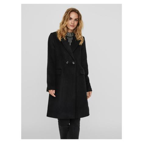 Czarny wełniany płaszcz VERO MODA Nora