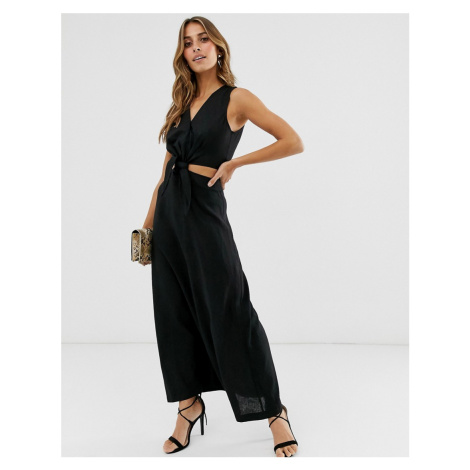 Warehouse midi dress with cutout in black linen