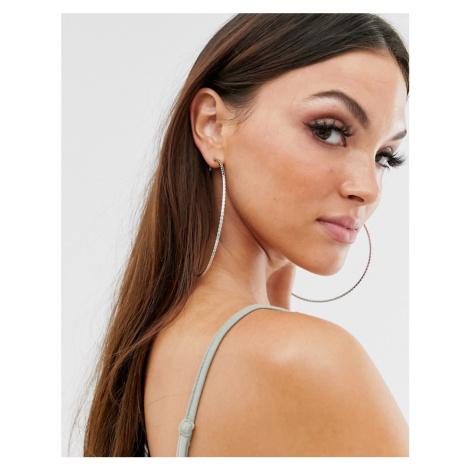 ASOS DESIGN 100mm hoop earrings with engraved rope detail in silver tone