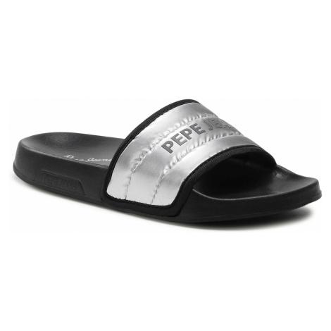 Klapki PEPE JEANS - Slider Nyl PLS70102 Silver 934