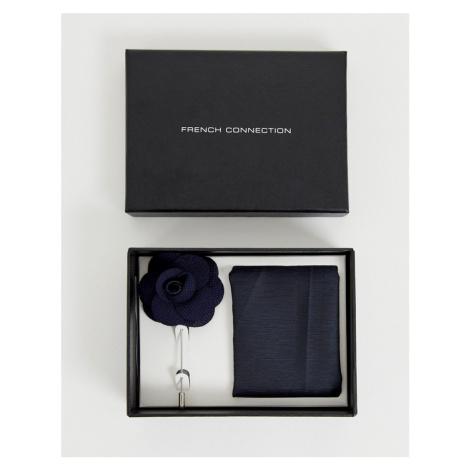 French Connection plain pocket square & lapel pin set