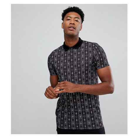 ASOS DESIGN Tall polo with vertical Aztec print