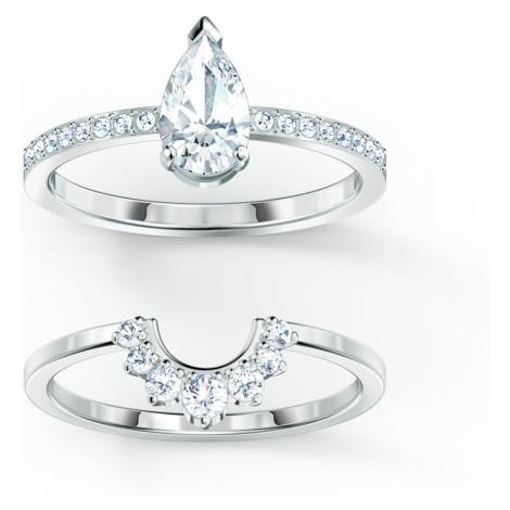 Komplet pierścionków Attract Pear, biały, powlekany rodem Swarovski