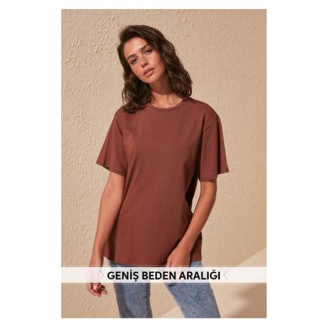 Trendyol Brown 100% Cotton Bike Collar Boyfriend Knitted T-Shirt