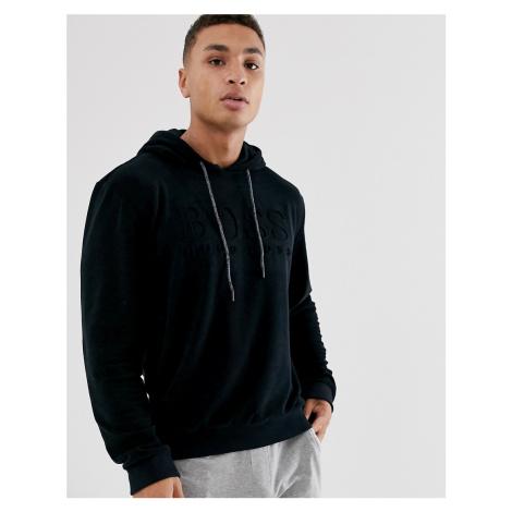 BOSS bodywear towelling logo hoodie in black Hugo Boss