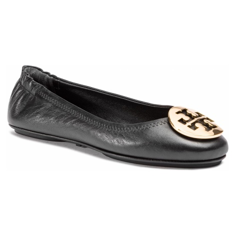 Baleriny TORY BURCH - Minnie Travel Ballet With Metal Logo 50393 Perfect Black/Gold 013