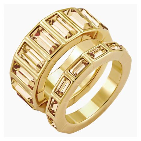 Efektowny pierścionek Fluid, brązowy, w odcieniu złota Swarovski