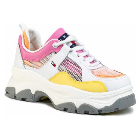 Sneakersy TOMMY JEANS - Recycled Mesh Flatform Shoe EN0EN00808 White YBS Tommy Hilfiger