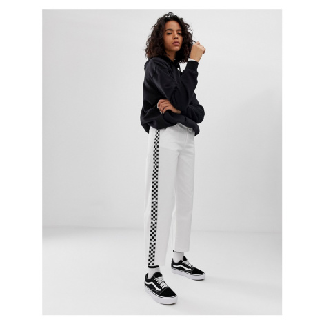 Vans white wide leg checkerboard taping trousers