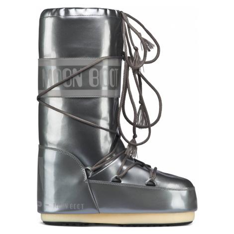 Moon Boot srebrne buty zimowe Vinil Met Silver