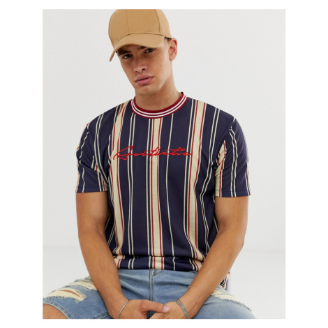 ASOS DESIGN relaxed t-shirt in vertical stripe with aesthetic embroidery