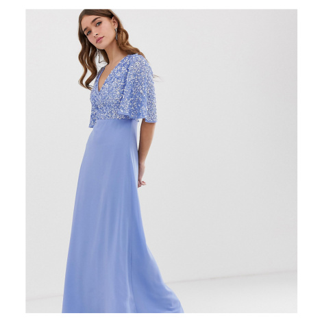 Maya Petite sequin top maxi dress with flutter sleeve detail in bluebell