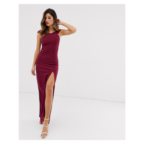 AX Paris bardot thigh split maxi dress