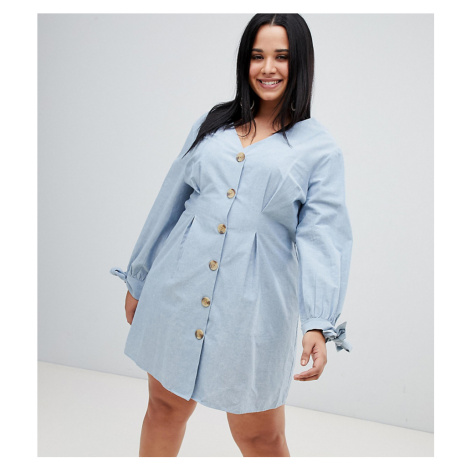 ASOS DESIGN Curve button through mini casual skater dress with tie sleeves in chambray