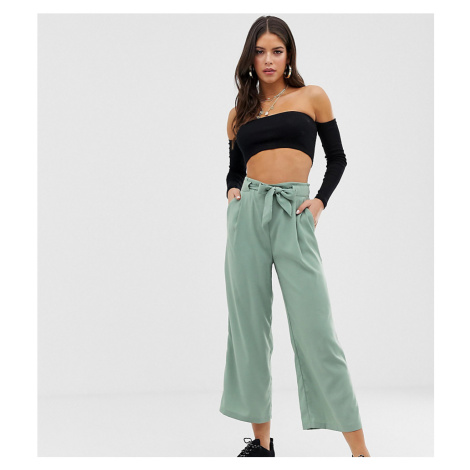 New Look Tall tie waist crop trousers in green