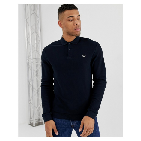 Fred Perry long sleeve pique polo in navy