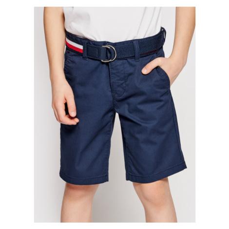 Tommy Hilfiger Szorty materiałowe Essential Belted Chino KB0KB05769 D Granatowy Slim Fit