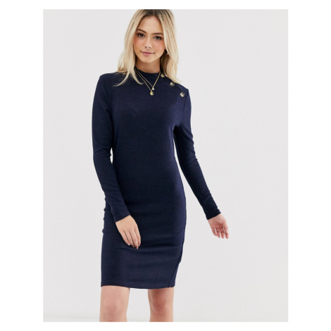 Brave Soul beda rib jumper dress with button neck