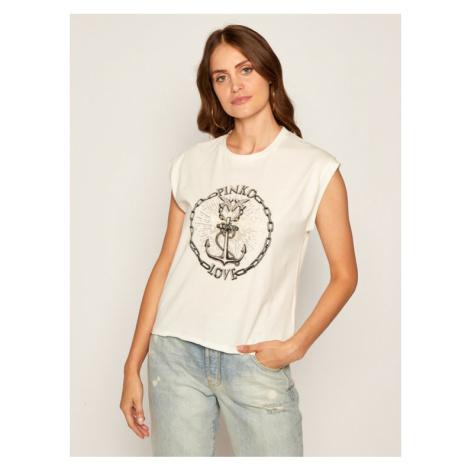 Pinko T-Shirt Erminio AI 20-21 BLK01 1G15BP Y6EV Biały Regular Fit