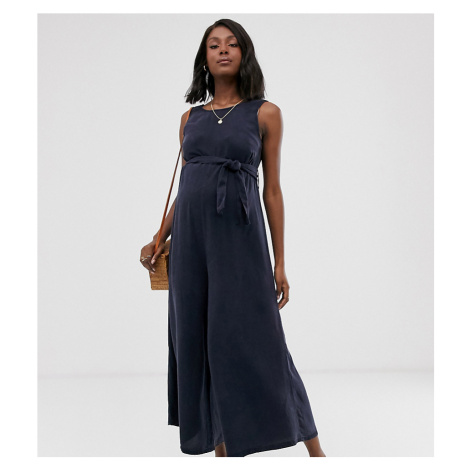 ASOS DESIGN Maternity soft denim belted wide leg jumpsuit