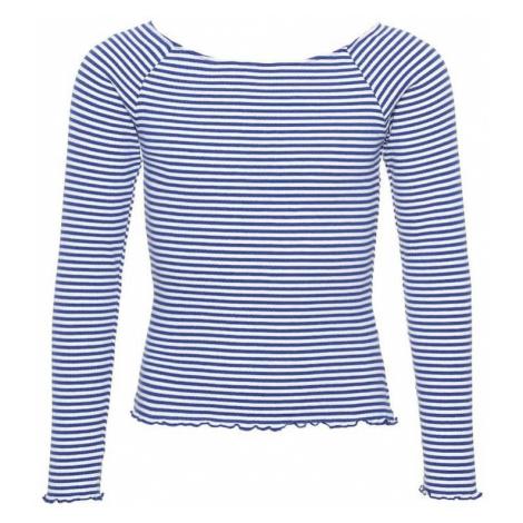NAME IT Koszulka 'NLFDALLAS LS OFF SHOULDER TOP NOOS' niebieski / biały