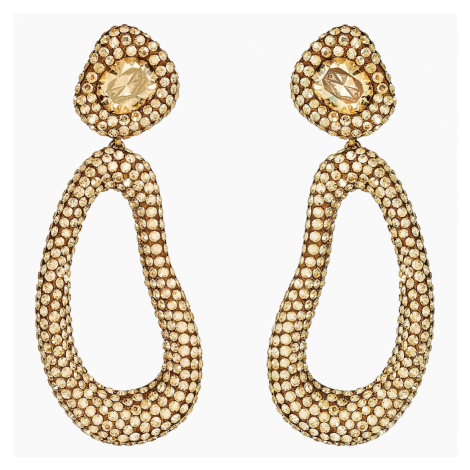 Tigris Drop Clip Earrings, Gold tone, Gold-tone plated Swarovski