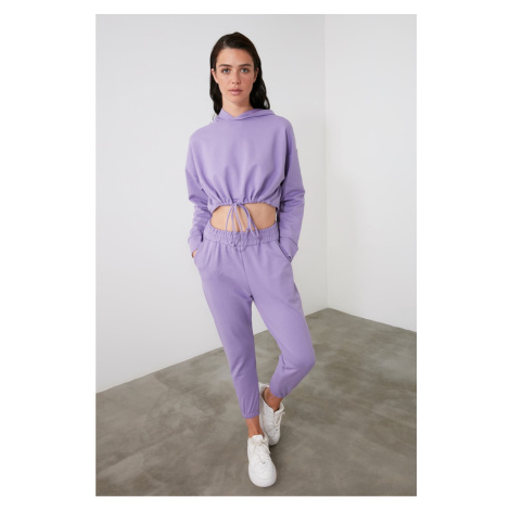 Trendyol Lila Crop Hooded Knitted Tracksuit Set