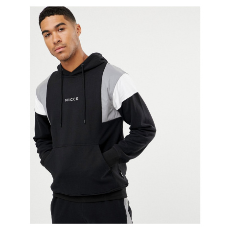 Nicce hoodie in black with reflective panels