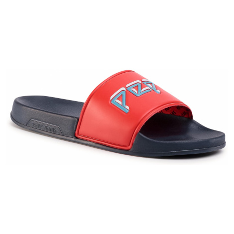 Klapki PEPE JEANS - Slider Archive Man PMS70081 Red 232