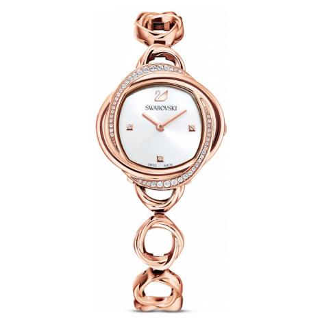 Zegarek Crystal Flower, bransoleta z metalu, odcień różowego złota, powłoka PVD w odcieniu różow Swarovski