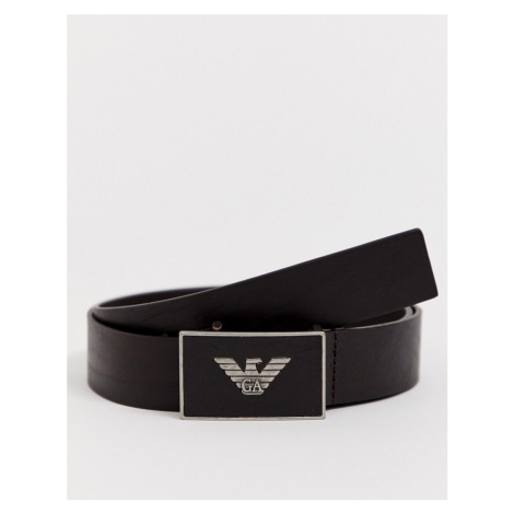 Emporio Armani plaque buckle leather belt in brown