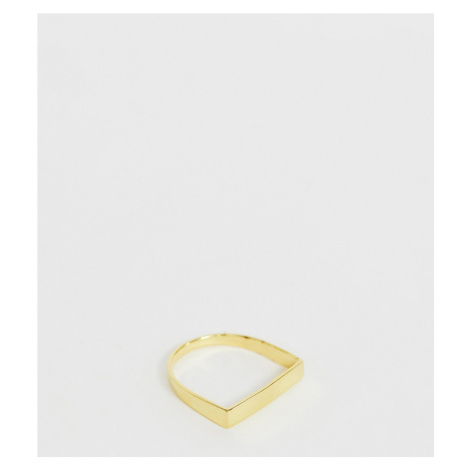 ASOS DESIGN sterling silver with gold plate ring in flat bar design