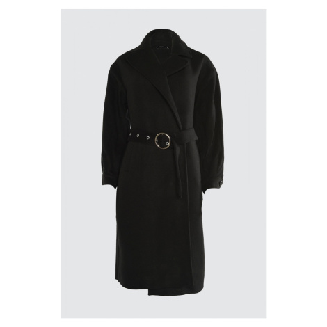 Trendyol Black Ring Buckle Belt Detailed Long Cachet Coat