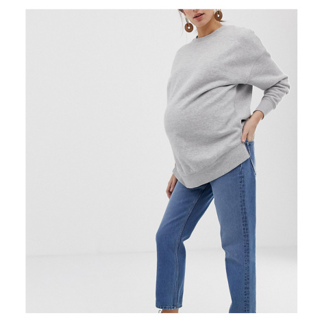 ASOS DESIGN Maternity Recycled Florence authentic straight leg jeans in mid vintage blue with si
