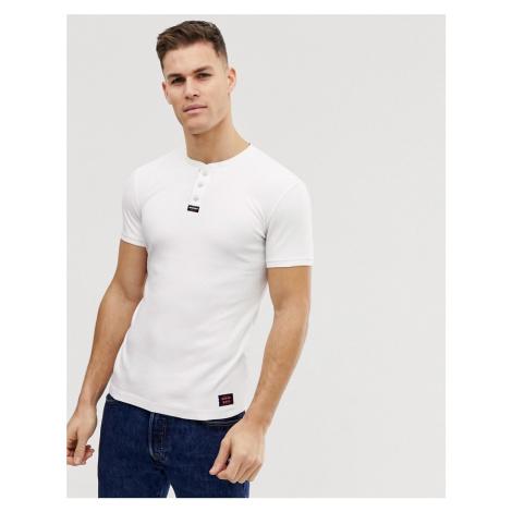 Superdry henley logo t-shirt in white