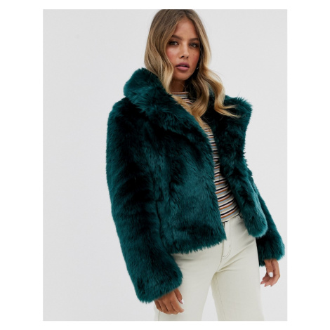 Forever New short faux fur coat in emerald green