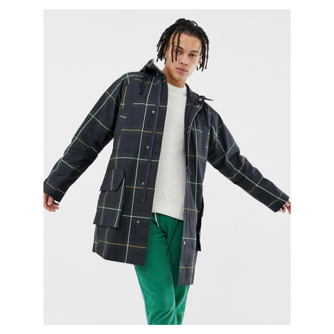ASOS DESIGN parka jacket with wax finished fabric in green check