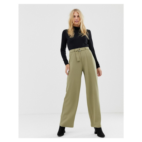 Pieces d ring belted wide leg trouser