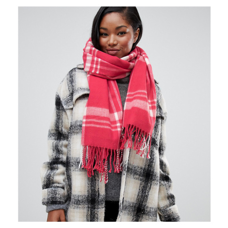Miss Selfridge check scarf in pink