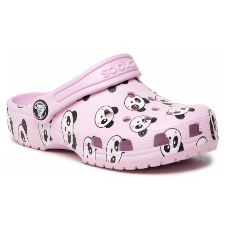 Klapki CROCS - Classic Panda Print Clog K 206999 Ballerina Pink