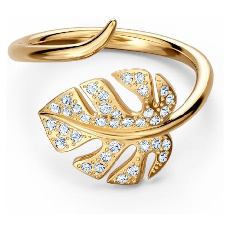 Otwarty pierścionek Tropical Leaf, biały, w odcieniu złota Swarovski
