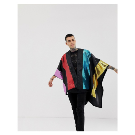 ASOS DESIGN cape with multi-coloured sequins