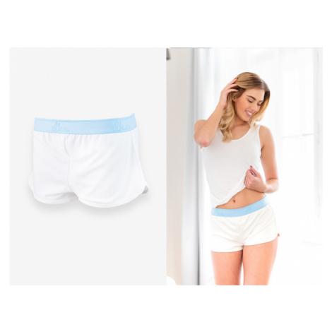 Szorty damskie - Biały z niebieską gumą