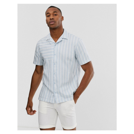 Jack & Jones Premium revere collar striped short sleeve shirt in light blue