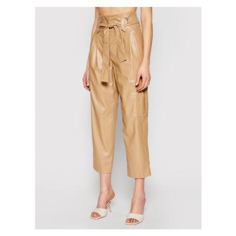 TwinSet Spodnie skórzane 211TT2024 Brązowy Relaxed Fit